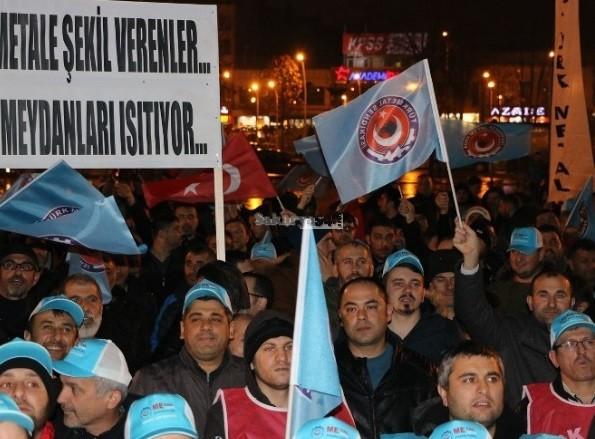 Türk metal işçileri MESS eylemi yaptı