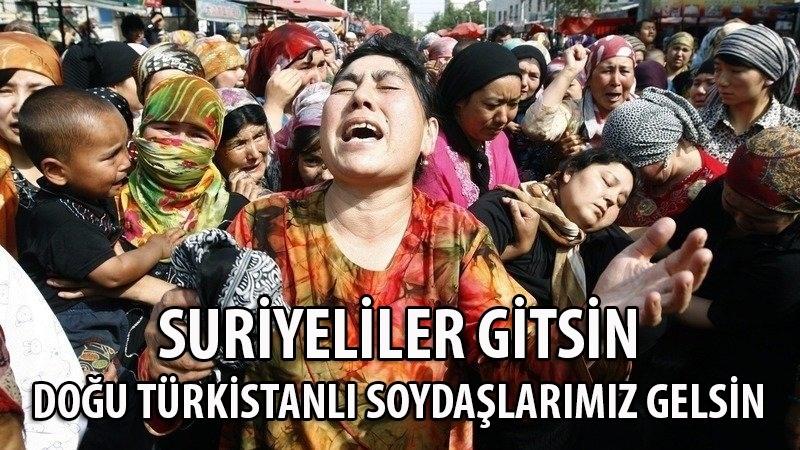 Suriyeliler gitsin, Doğu Türkistanlılar gelsin!