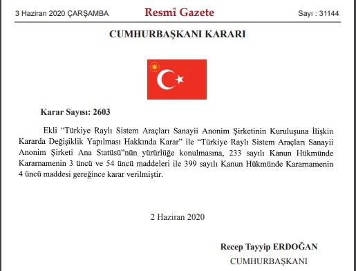 TÜRASAŞ Ana statüsü ile ilgili Cumhurbaşkanı kararı yayımlandı
