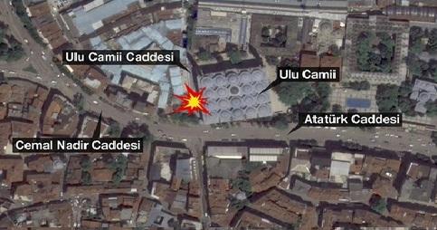 Ulu Camii yakınında patlama 1 Ölü 10 yaralı