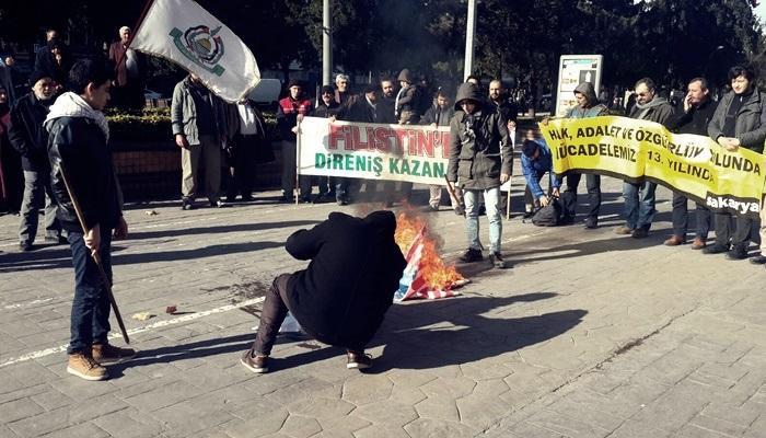 AKM önünde ABD ve İsrail bayrakları yakıldı